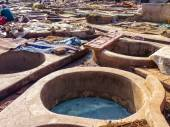 Tannery tanks in Marrakech Morocco — Stock Photo