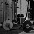 Barbells in a gym bar bells and rope — Foto Stock #56079149