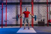 Barbell weight lifting man weightlifting workout — Stock Photo