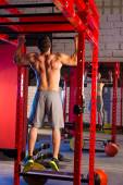 Toes to bar man pull-ups 2 bars workout — Stock fotografie