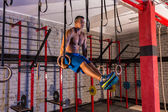 Dip ring girl man muscle ups rings workout — Foto de Stock