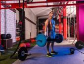 Hex Dead Lift Shrug Bar Deadlifts man at gym — Foto Stock