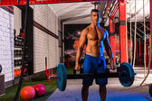 Hex Dead Lift Shrug Bar Deadlifts man at gym — Stock Photo