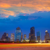 Houston downtown skyline at sunset dusk Texas — Stock Photo