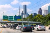 Houston Fwy traffic 10 Interstate in Texas US — Stock Photo