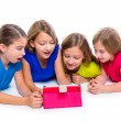 Sisters kid girls with tech tablet pc playing happy — Stock Photo #57785139
