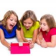 Sisters kid girls with tech tablet pc playing happy — Stock Photo #57785177