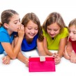 Sisters kid girls with tech tablet pc playing happy — Stock Photo #57785191