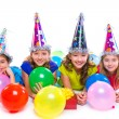 Happy kid girls birthday party balloons and gift — Stock Photo #57788685