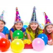 Happy kid girls birthday party balloons and gift — Stock Photo #57788791