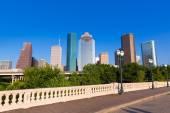 Houston skyline from Sabine St bridge Texas US — Stock Photo