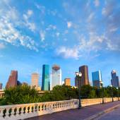Houston skyline from Sabine St bridge Texas US — Stock Photo