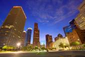 Houston Downtown skyline at sunset Texas US — Stock Photo