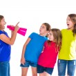 Megaphone leader kid girl shouting friends — Stock Photo #57790445