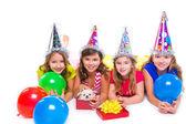 Happy kid girls puppy dog gift in birthday party — Stock Photo