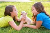 Twin sister kid girls and puppy dog lying in lawn — Stock Photo