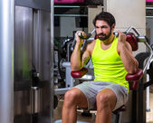 Abdominal crunch machine workout man — Stock Photo