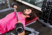Barbell inclined bench Press flyes man workout — Stock Photo