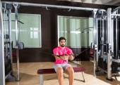 Sit cable crossover fly pulley flies man workout — Stockfoto