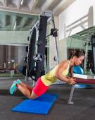 Knees bench triceps push up woman at gym — Stock Photo