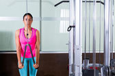 Triceps pressdown high pulley workout woman — Stockfoto