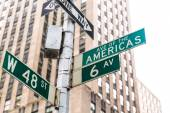 Americas Avenue signs & W 48 st New York — Stock Photo