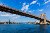 Brooklyn and Manhattan bridges East River NY — Stock Photo