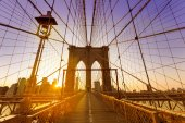 Brooklyn Bridge sunset New York Manhattan — Stock Photo