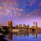Brooklyn Bridge sunset New York Manhattan — Stock Photo