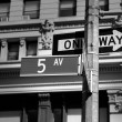Fift avenue sign 5 th Av New York Mahnattan — Stock Photo #62319129