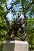Central Park fitz greene halley statue New York — Stock Photo