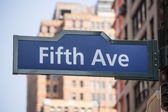 Fift avenue sign 5 th Av New York Mahnattan — Stock Photo