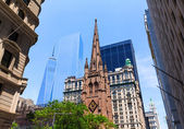 Trinity Church  Freedom Tower Manhattan NYC — Stock Photo