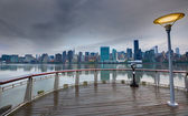 Manhattan New York cloudy dramatic skyline USA — Stock Photo