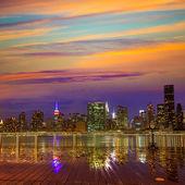 Doğu'dan Manhattan New York günbatımı manzarası — Stok fotoğraf