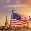 Statue of Liberty New York American flag — Foto Stock #62373101