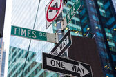 Times Square signs & W 46 st New York — Stock Photo