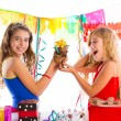 Girl friends party excited with puppy dog present — Stock Photo #63239735