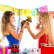 Girl friends party excited with puppy dog present — Stock Photo #63239817