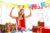 Party blond kid girl happy with many presents — Stock Photo