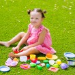 Toddler kid girl playing with food toys sitting in turf — Stock Photo #63241735