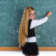 Nerd pupil blond girl in green board schoolgirl — Foto de Stock   #63247021