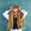 Crazy nerd blond student girl hold hair surprised — Stock Photo #63247225