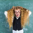 Crazy nerd blond student girl hold hair surprised — Photo #63247325