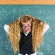 Crazy nerd blond student girl hold hair surprised — Stock Photo #63247433