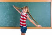 Braided student blond girl playing with braids — Stock Photo