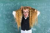 Crazy nerd blond student girl hold hair surprised — Foto de Stock
