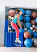 Kangoo Jumps Anti Gravity fitness boots girl — Stock Photo