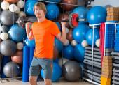 Barbell squats blond man at gym exercise — Zdjęcie stockowe