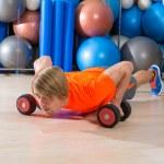 Blond man gym push-up pushup dumbbells — Stock Photo #63934067